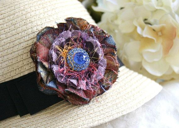 Royal Blue Rhinestone Autumn Purple Flower Pin Brooch Corsage