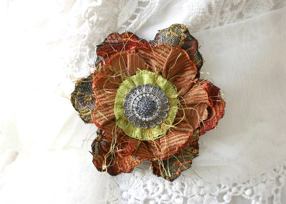Flower Pin in Colors of Autumn Leaves