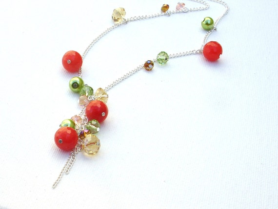Colorful Modern Necklace - Red and Lime Green