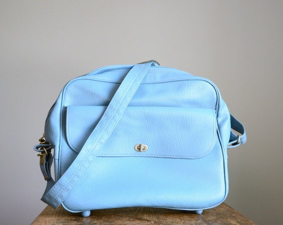 Vintage Luggage .. Electric Blue Messenger Bag