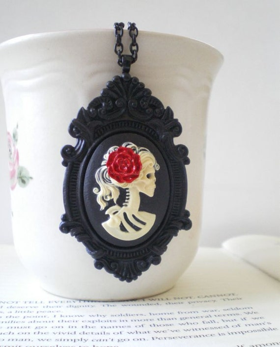 Gothic Wedding. Skeleton Cameo Necklace. Halloween. Black. Ivory. Skull Jewelry. Madame Mayhem Collection.