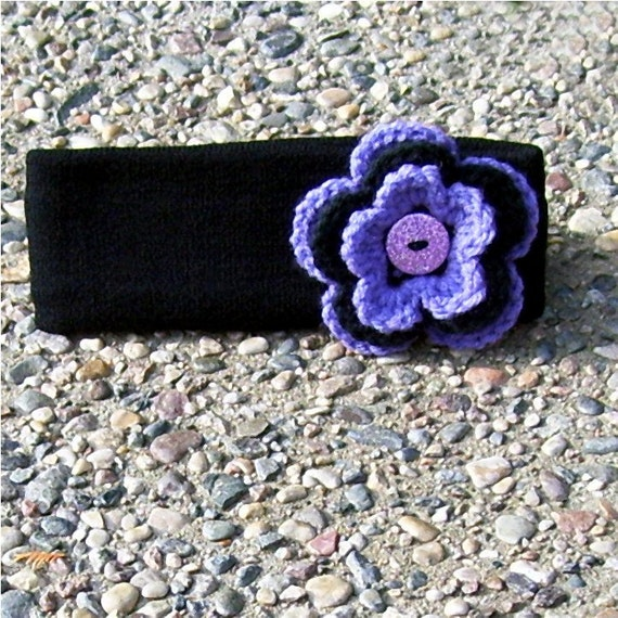 Winter Headband Ear Warmer Black Purple Flower