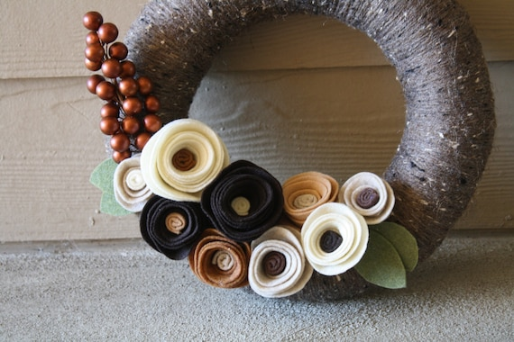 Yarn Wreath Handmade Decoration- Vintage Brown 12 inch