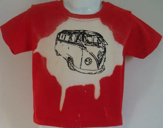 Childrens Red T -shirt, hand dyed and decorated with hand painted Samba from Ages 1-8 yrs