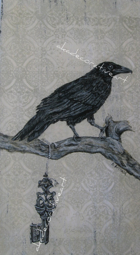 "Vintage Crow Print, ""Crow With Key"", Vintage Bird Print, Original Painting, Acyrlic, Goth, 8 1/2 inches x 15 1/2 inches"