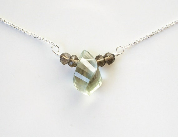 Prasiolite Smoky Quartz Sterling Silver Necklace