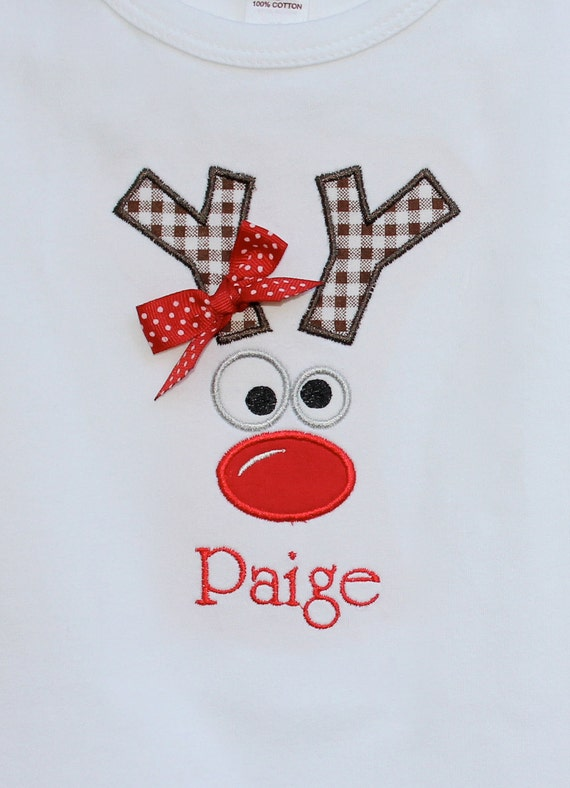 Personalized Girls Reindeer Face with Bow