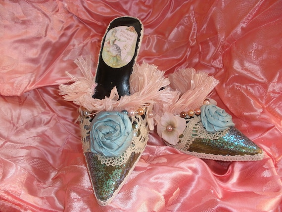 Marie Antionette Savanah Shoes with Ruffles and Dupioni Silk Rolled Roses