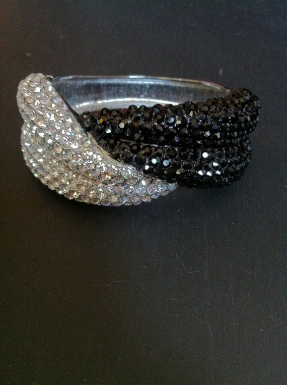 White and Black Swarovski Crystal Bangle Bracelet