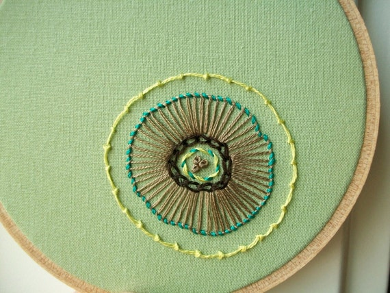 hand embroidered hoop art - freeform flower in 4 inch hoop by bo betsy - free shipping