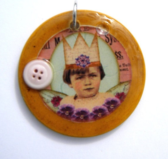 Necklace: Princess of Pansies Altered Poker Chip