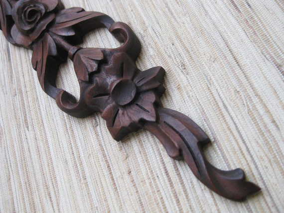 Reclaimed Wood Carving, Onlay - VERY RARE reclaimed cherry wood decoration
