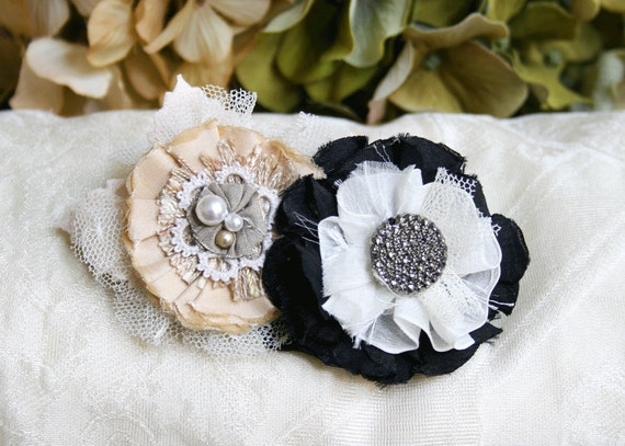 Flower Fascinator Hair Barrette in Black, White and Cream with Vintage Accents