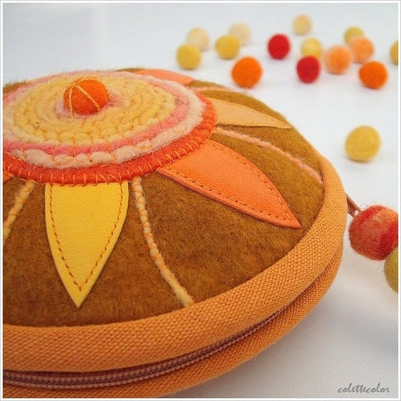 Sunflower circular unique ornamented zipper pouch mustard yellow orange colours