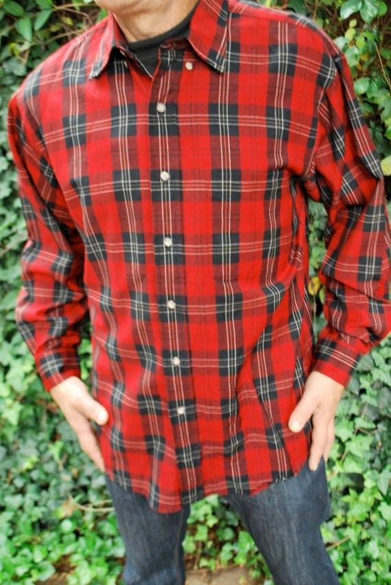 Vintage Worsted Wool Cluny Tartan Plaid Button Down Shirt