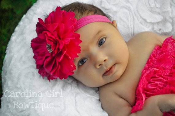 Dark Pink Flower Head Band -Large Peony Flower on a  Soft Elastic Headband