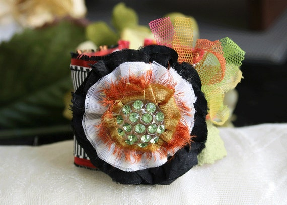 Whimsical Flower Cuff Bracelet Corsage in Bright Colors and Patterns