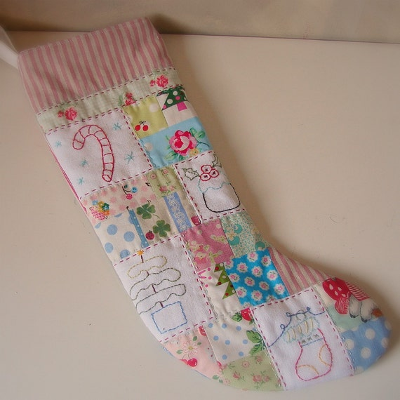 Christmas stocking pink linen stripe