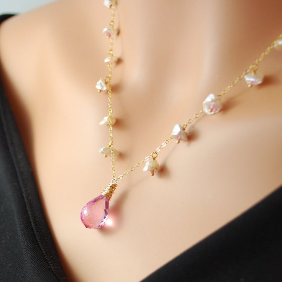 Hot Pink Topaz Necklace with Keishi Pearls and Rubies in Gold