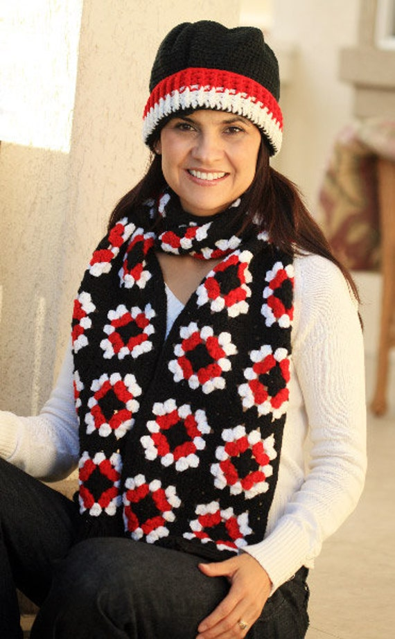 Red, Black, White Granny Square Scarf and Hat Set for Women Bright Gift READY TO SHIP