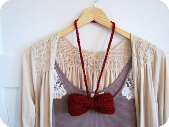 Big Crochet Bow Necklace in Cranberry Red