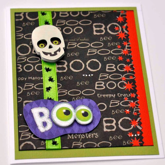 Skull Boo greeting card for Halloween