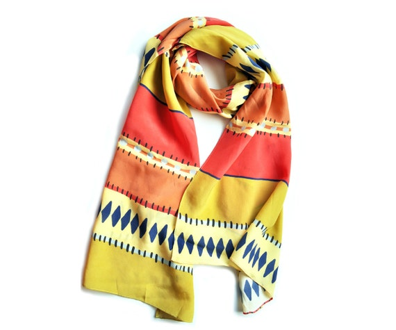 Silk Sarape Print Scarf in Melon