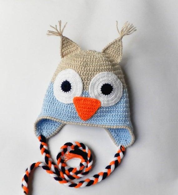 """کلاه نوزاد Crocheted با تزئین """"جغد"""""""