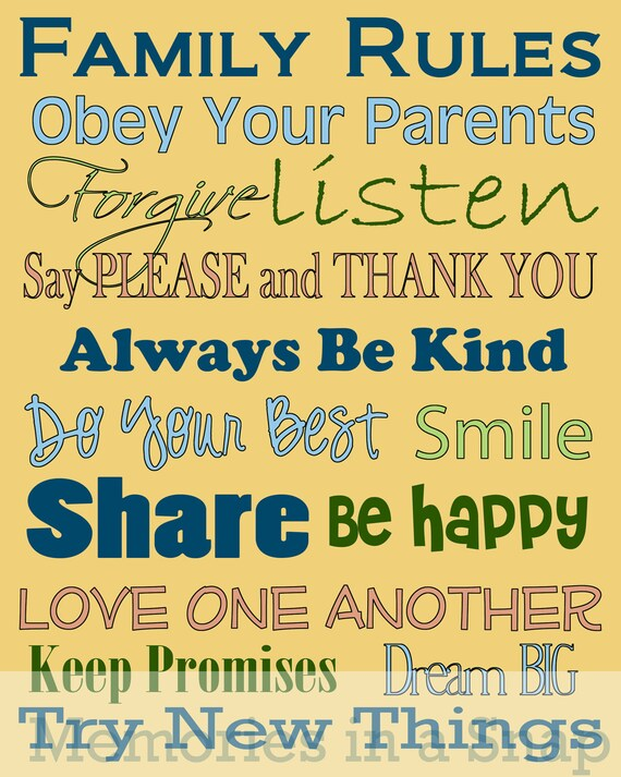 Family Rules Subway Art Printable Great for Home Decorating by Memories in a Snap