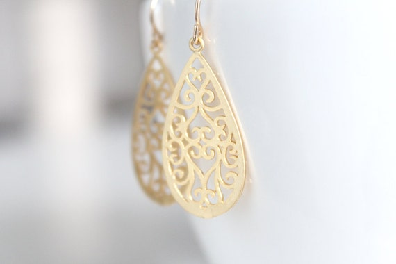 Gold Filigree Teardop Earrings - Hidden Hearts