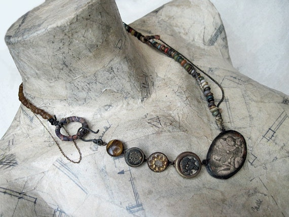 Homunculus. Rustic Victorian Tribal Assemblage Necklace.