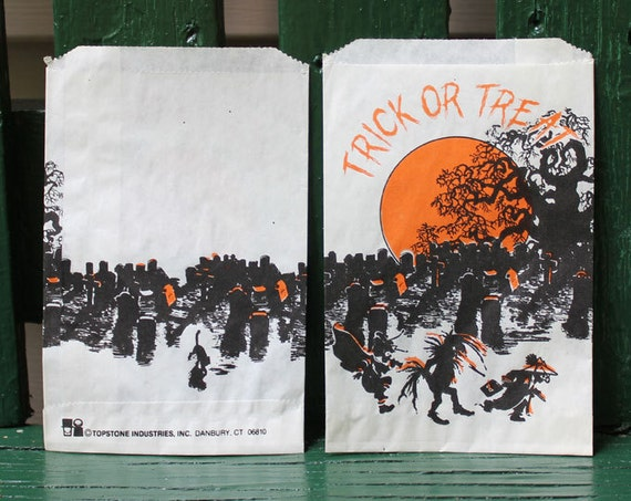 Topstone Industries Vintage Halloween Trick or Treat Bags Unused