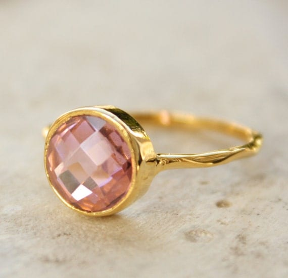 Gold Pink Quartz Ring - Round Cut - Vermeil Gold