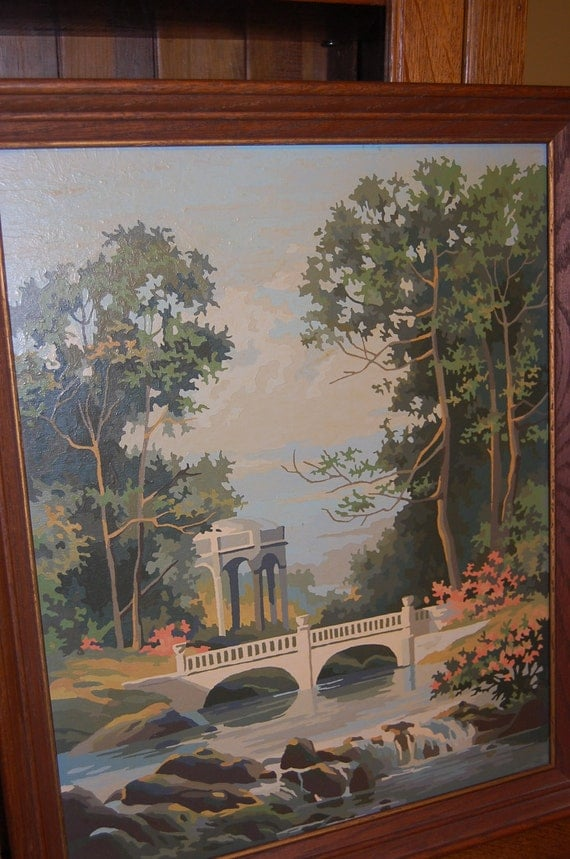 Framed vintage paint by number