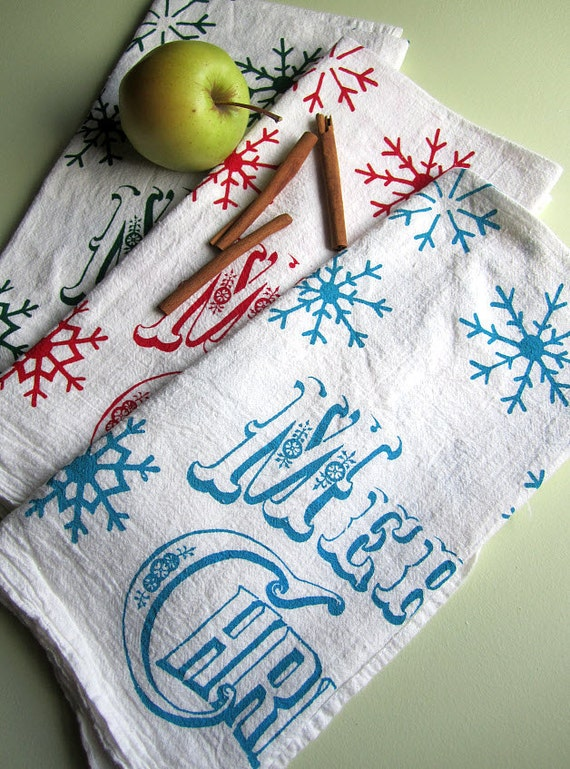 Screen Printed Organic Cotton Merry Christmas Kitchen Flour Sack Tea Towel - Great dish towel