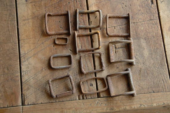 11 Rusty Equestrian Hardware pieces- Metal, Assorted Sizes