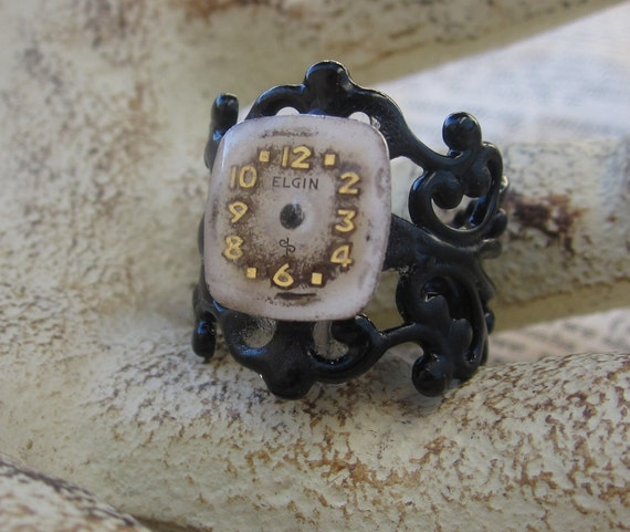 Steampunk Antique Watch Face Black Filligreel Ring