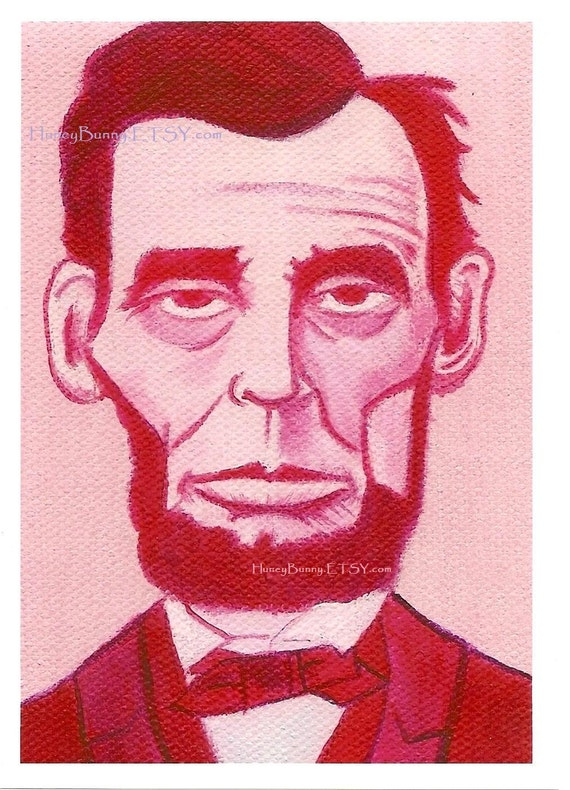 PINK LINCOLN ART Print. 5x7 Print of an Original Oil on Canvas Painting. Whimsical Artwork of Allie Kelley