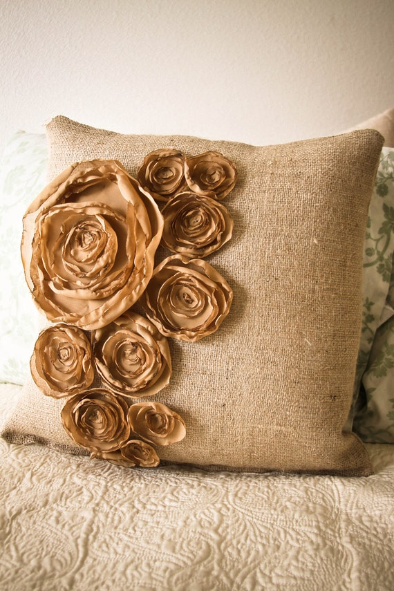 18x18 inch autumn inspired burlap pillow with gold fabric flowers