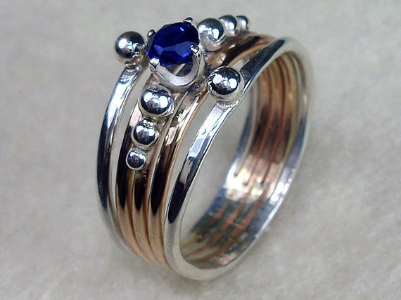 Stack Ring Three 14kt Gold Filled Two Argentium Silver Bands with 4mm Sapphire Cubic Zirconia CZ Birthstone with Argentium Silver Pearls - ($50)