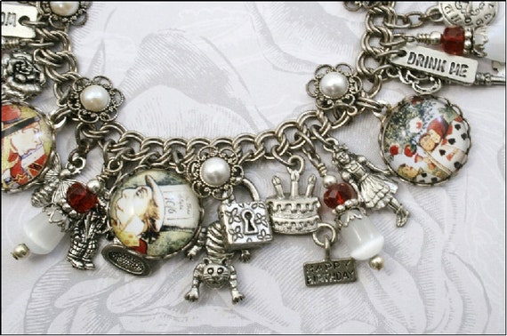 Alice in Wonderland, Drink Me, Vintage Inspired Charm Bracelet, Round Charms