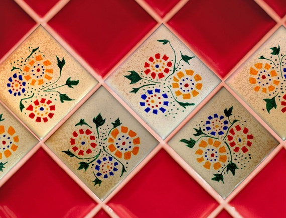 Hand Painted Porcelain Tiles in Country Dutch Design - Home Decor - Five Dollars Each