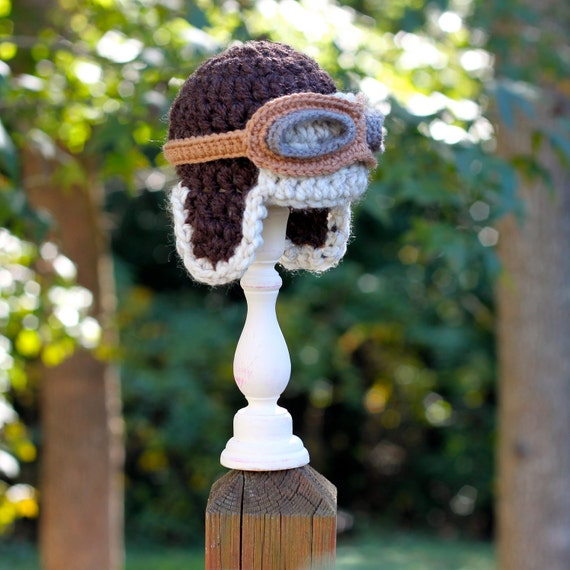 Chunky Crochet Baby Aviator Hat or Photography Prop in Brown and Oatmeal with Flying Goggles - Size NB