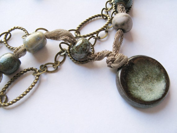 Black Friday Sale - Ceramic, Silk and Chain Necklace and Earring Set - Earth Tones, Mixed Media