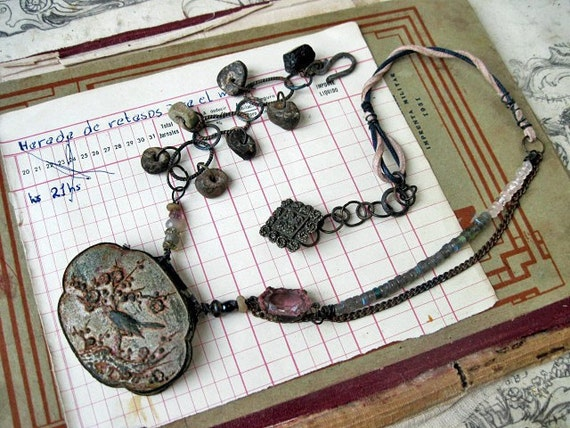 Sky All in Rags. Rustic Gypsy Vintage Assemblage Necklace.