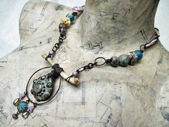 Flesh and Brain. Rustic Gypsy Assemblage Necklace  with Artisan Ceramic Beads.