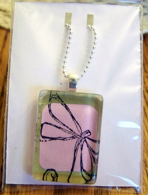 glass pendant necklace - pink and green, dragonfly
