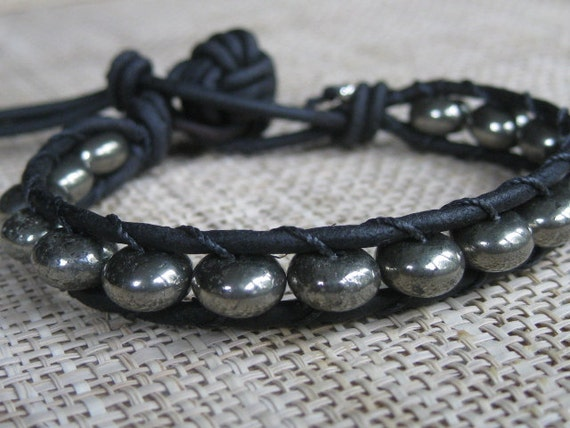 Pyrite on Black Leather Wrap Bracelet