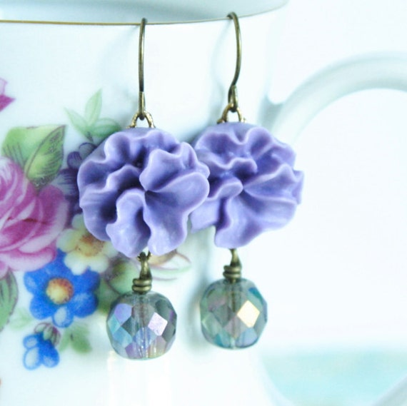 Mauve Dangle Earrings With Vintage Glass Beads Set on Brass - Very Feminine - Free Shipping