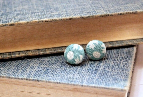 fabric button earrings in aquamarine turquoise